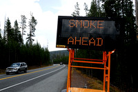 Variable Message Sign, Smoke Ahead, Yellowstone National Park, Wyoming, USA