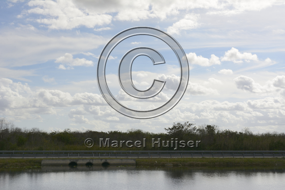 Culverts under unmitigated section of the Tamiami Trail (US Hwy 41) concentrating water flow in this section of the Everglades ecosystem, near Shark Valley, Florida, USA