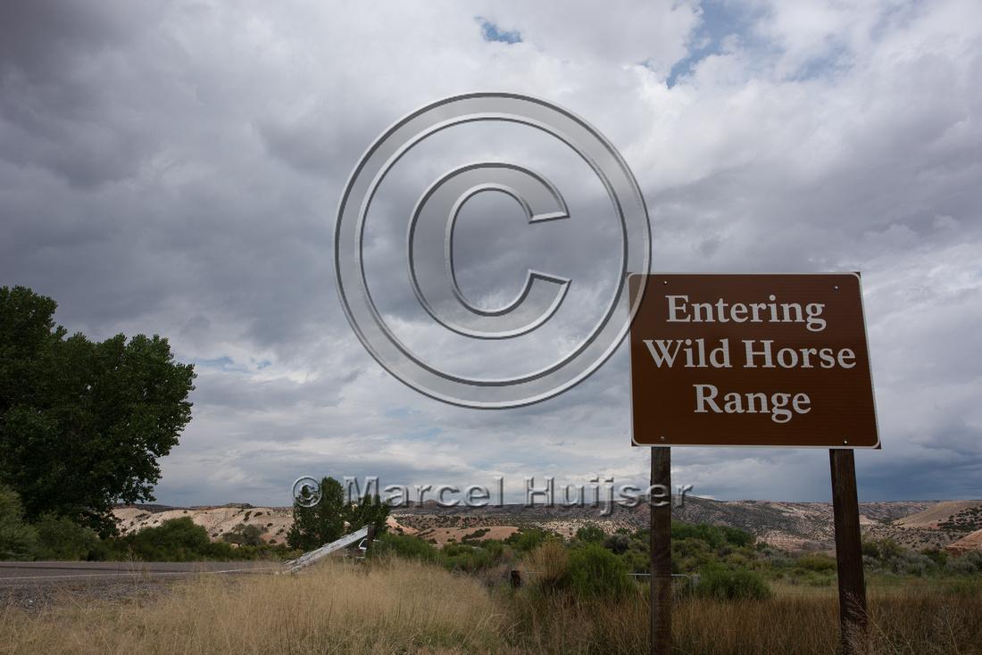 Warning sign, Entering Wild Horse Range, Pryor Mountains Wild Ho