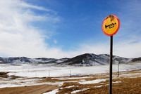 Do not beep the horn, quiet zone, Hustai Nuruu National park, Töv, Mongolia