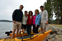 Marcel Huijser, Bethanie Walder, Carla Abrams, Julie Mae Muiderman and Cacy Celver, with Kayaks, Finley Point State Park, Flathead Lake, Montana, USA