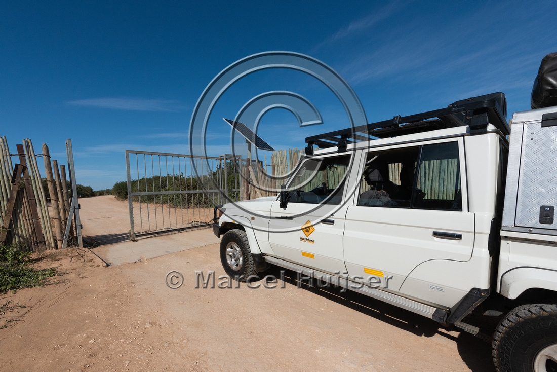 Gate, push button to open, at picknick area, Addo Elephant Natio