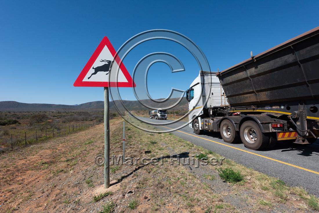 Wildlife warning sign, north of Addo Elephant National Park, Eas