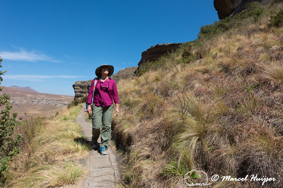 Bethanie Walder hiking on trail, Golden Gate Highlands National
