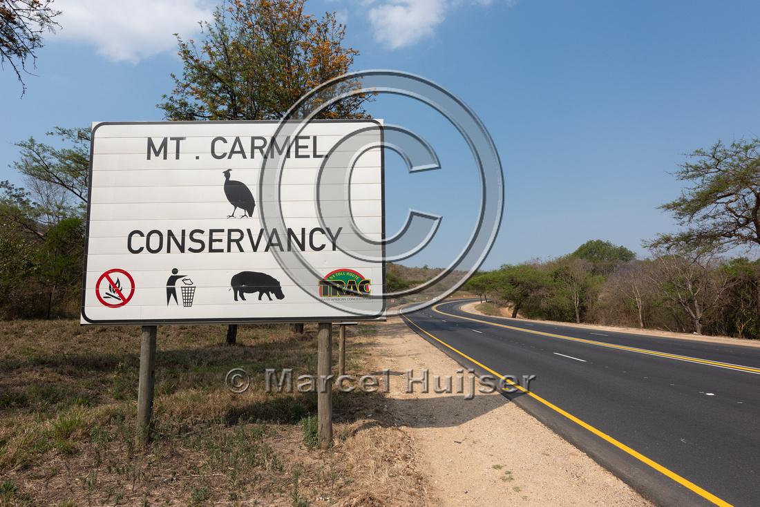 Wildlife warning sign, Mt Carmel Conservancy,  Mpumalanga Provin