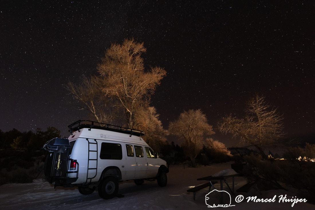 Starry night, Ford 4x4 camper van, Yellowstone National Park, Wy