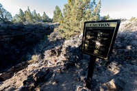 Sign at lava tunnel, Lava Beds National Monument, California