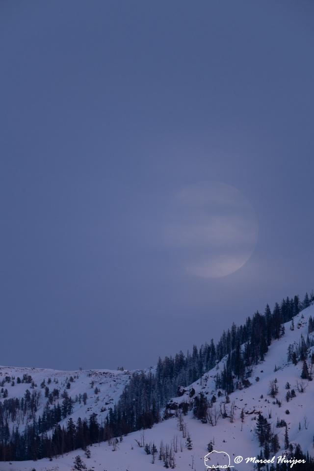 Moonrise and mountain, Wyoming, USA