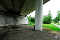 Bench at multifunctional underpass, across A4 motorway, Parndorf, Austria.