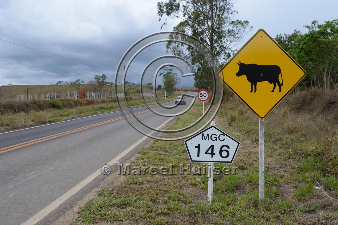 Livestock warning sign, near Vargem Bonita, Parque Nacional da Serra da Canastra, Minas Gerais, Brazil