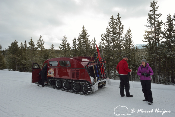 Traveling from West Yellowstone to Old Faithful with a snowcoach in winter, Yellowstone National Park, Wyoming, USA