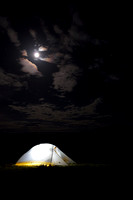 Camping out in the sagebrush sea under the moon in the high desert of southwest Montana, USA