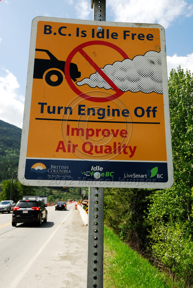 Air quality sign at construction site, British Columbia, Canada