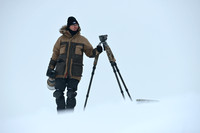 The making of the muskoxen images, Niels Kooijman in action in Dovrefjell National Park, Norway