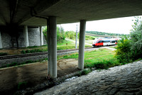 Railroad and farm road at multifunctional underpass, under A4 motorway, Parndorf, Austria