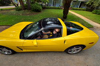 Marcel Huijser and a yellow Chevrolet Corvette, Florida, USA