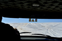 Parallel dirt road (parallel two tracks) on snow covered grasslands, near Bayan-Adarga, Khentii, Mongolia