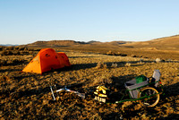 Bicycle camping  with MSR Fury 2 tent near a sage grouse (Centrocercus urophasianus) lek, Montana, USA