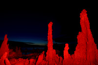 Tufas illuminated with red light, South Tufa area, Mono Lake, California, USA