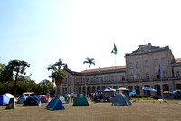 The encampment of the strikers at the University of São Paulo, Piraciccaba campus (ESALQ), Brazil