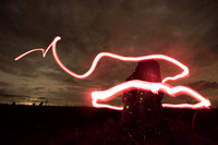 Running deer  painted with flashlights next to a termite mound w