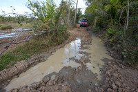 Tricky spot on dirt road, Mitsubishi 4x4, L200 Triton Savana, on