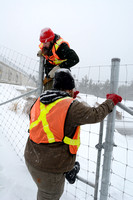 James Baxter-Gilbert and Sean climb fence because snow prevents gate from opening at wildlife overpass, Hwy 69, Ontario, Canada