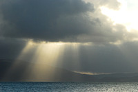 Sun beams and clouds over Dingle Bay and the Kerry Peninsula, Ireland