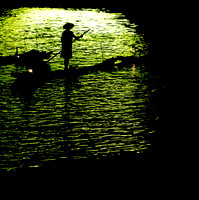 Chinese fishermen in a light show, Li River, Yangshuo, China