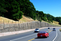 Retaining wall with rock pattern, California, USA