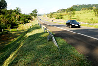 Freshly mowed of right-of-way vegetation along motorway SP-225, , near Itirapina, Sao Paulo, Brazil