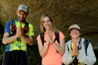 Hamilton (guide, trail runner, yoga practitioner), Fernanda Abra, and Bethanie Walder in Atlantic forest, near São Francisco Xavier, Brazil