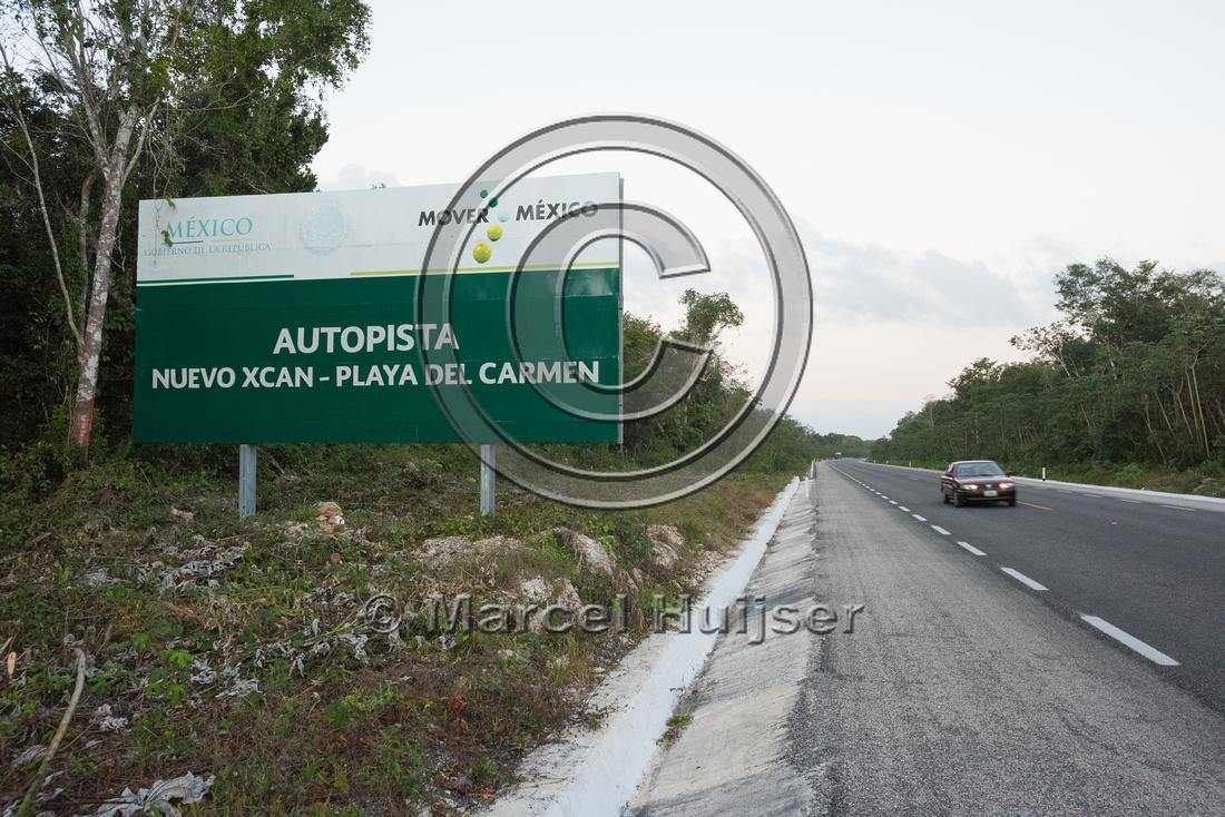 Sign Nuevo Xcan-Playa Del Carmen highway, Quintana Roon, Mexico