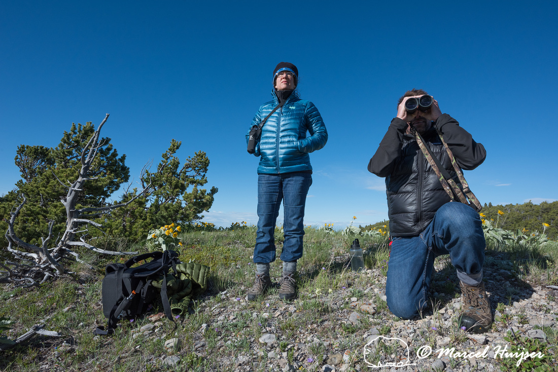 Bethanie Walder and Andrew Jakes looking for wildlife, Montana,