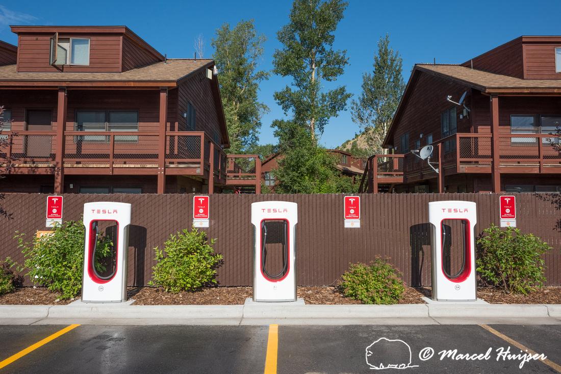 Tesla Supercharger Station, Jackson, Wyoming, USA