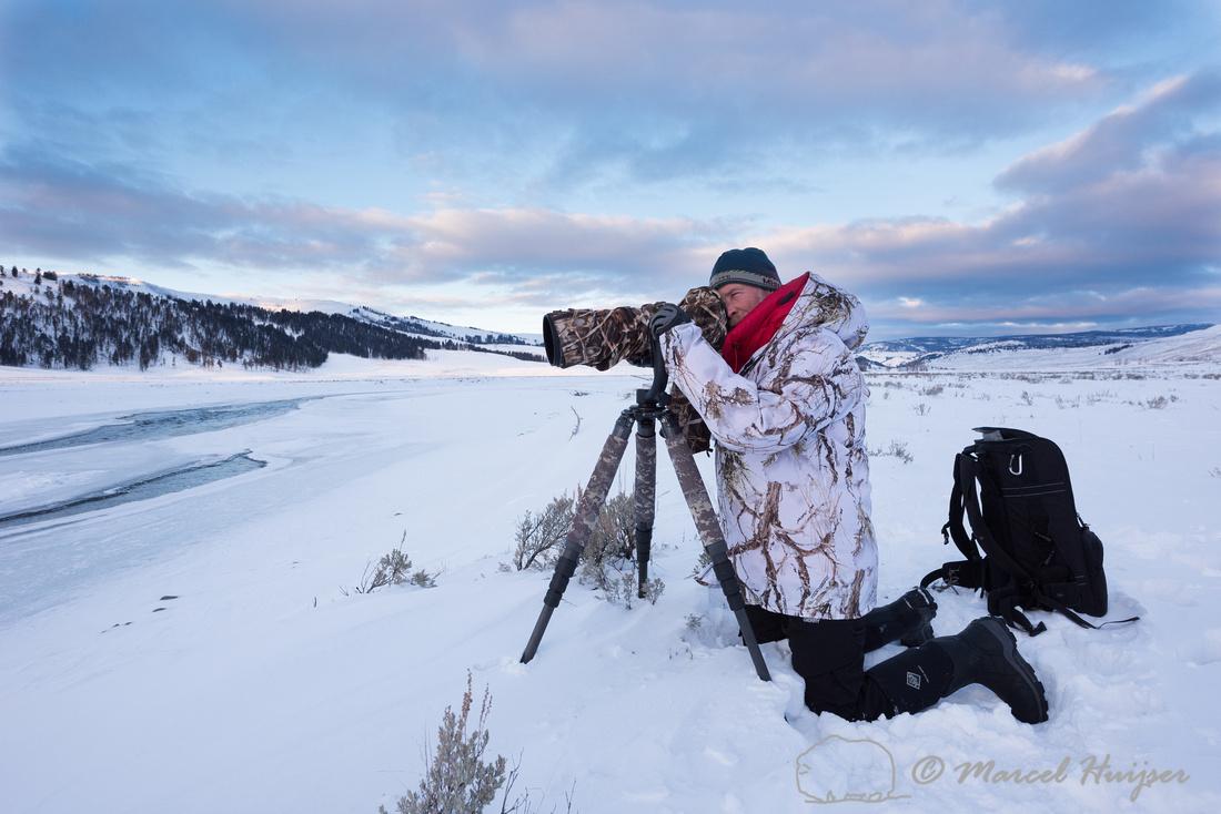 Marcel Huijser photographing river otters