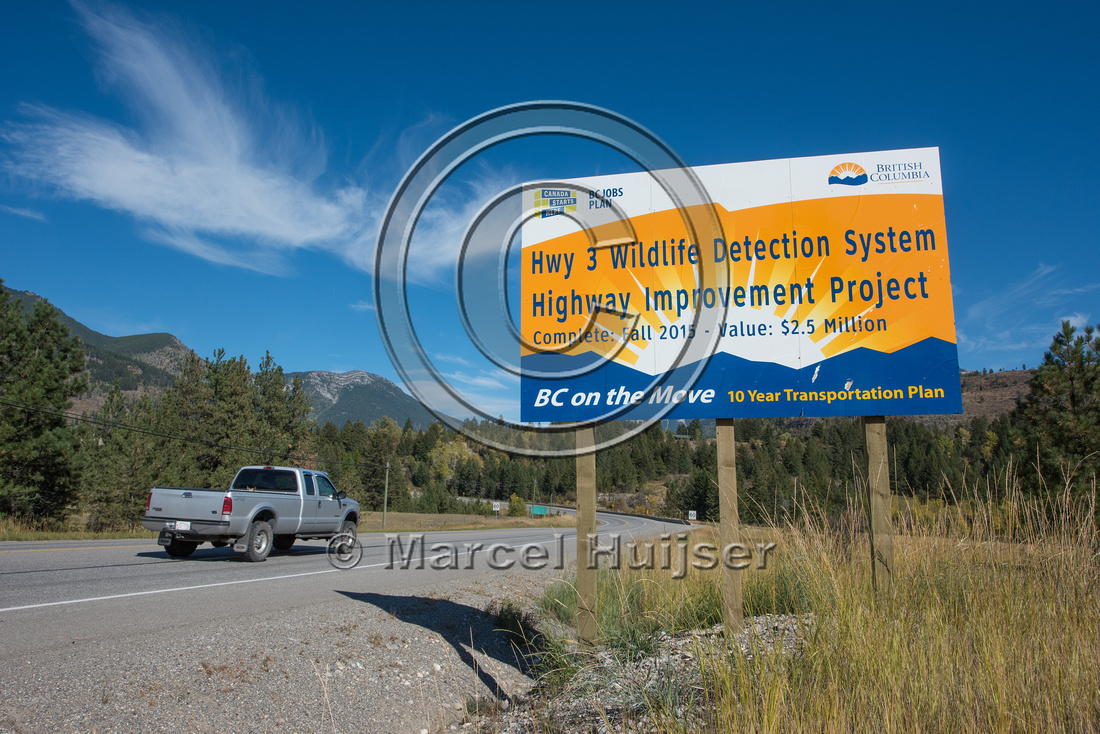 Informational sign animal detection system, near Elko, British C