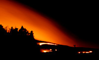 Forest fire at night, Montana, USA