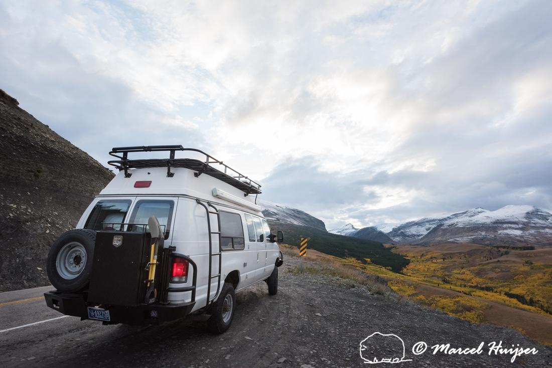 Camper van near Glacier National Park, Montana, USA