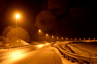 Street lighting to increase the visibility of moose (Alces alces) to drivers, E6 highway, south of Ringebu, Norway