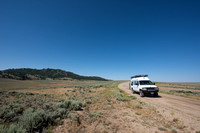 Our camper van on dirt road, Wind River Range,  Wyoming, USA
