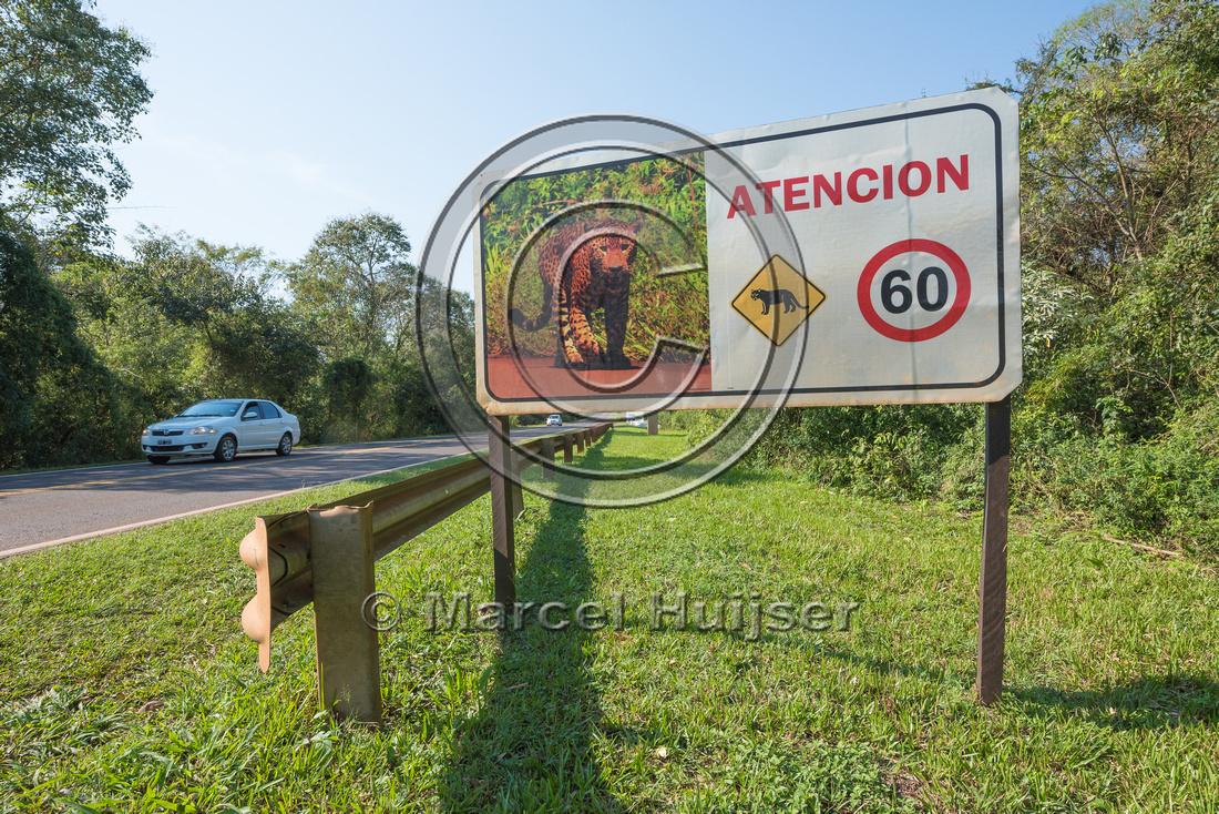 Wildlife warning sign for jaguar, Iguazu falls, Iguazu National