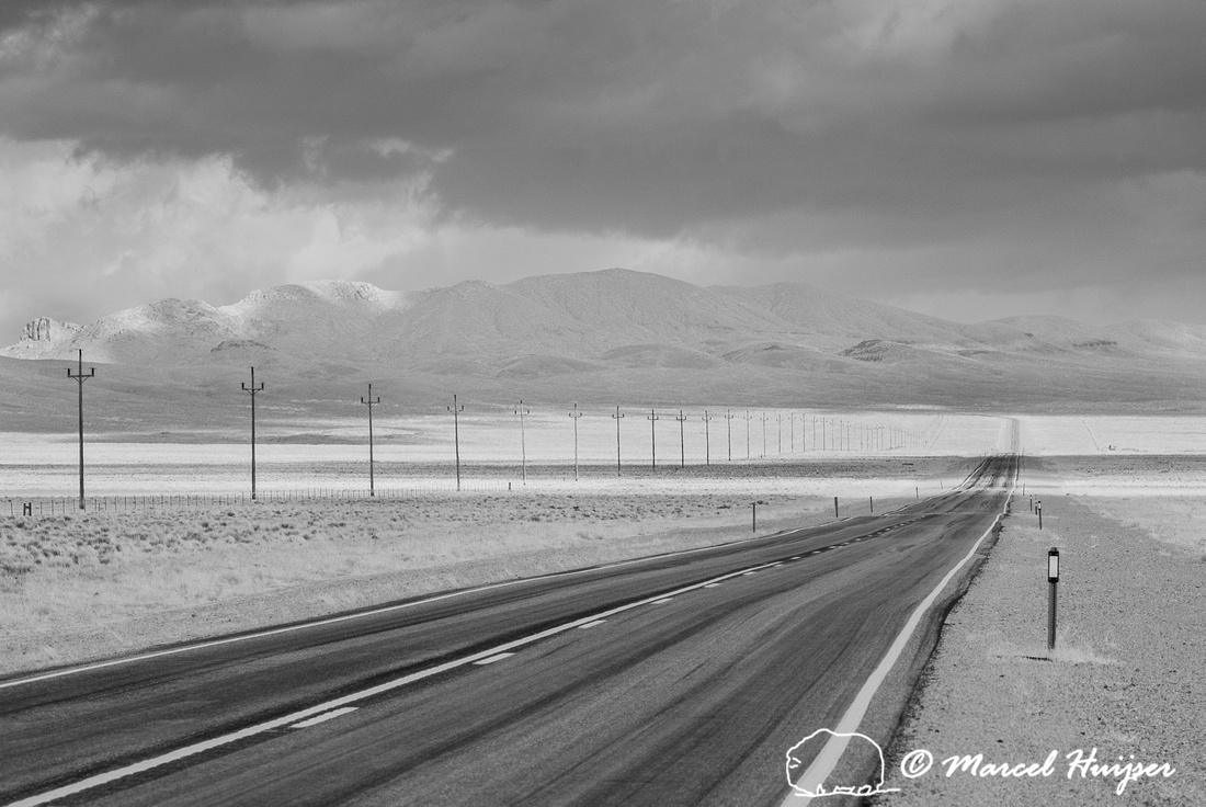 Highway and powerline in infrared, Nevada, USA