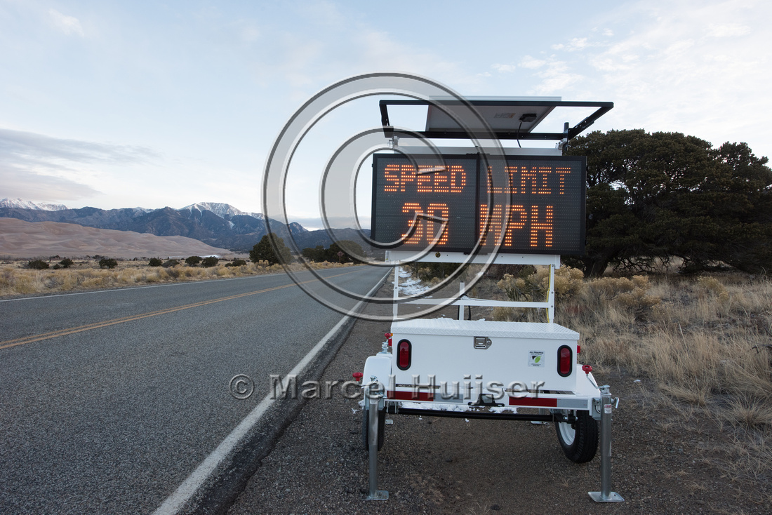 Warning sign, speed limit 30 mph, watch for wildlife, Colorado,