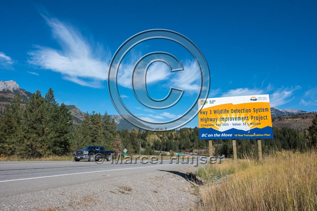 Informational sign animal detection system, near Elko, British C