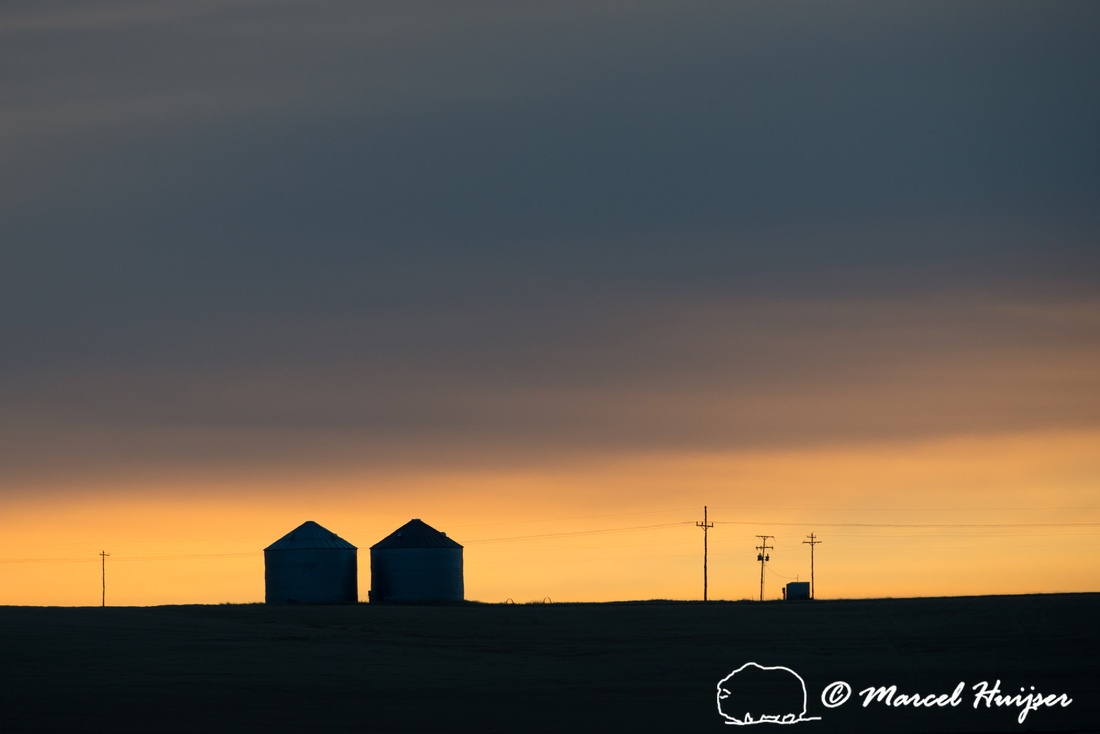 Silos silhouetted during sunrise, Montana, USA