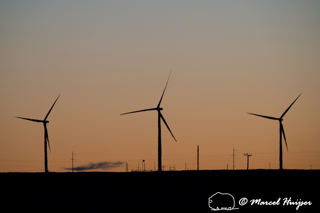 Wind turbines at sunrise on the great plains, Montana, USA