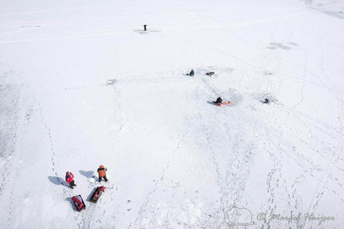 Ice fishing, Curecanti National Recreation Area, Colorado, USA