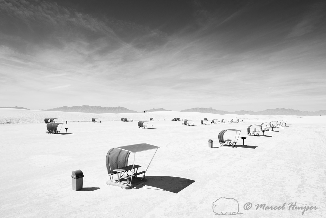 Picknick shelters, White Sands National Monument, New Mexico, US