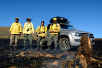 The fire fighters pose with the Volkswagen Amarok after putting out the fire, Parque Nacional da Serra da Bocaina, São Paulo, Brazil
